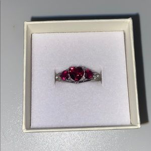 sterling silver ring diamonds and heart rubies